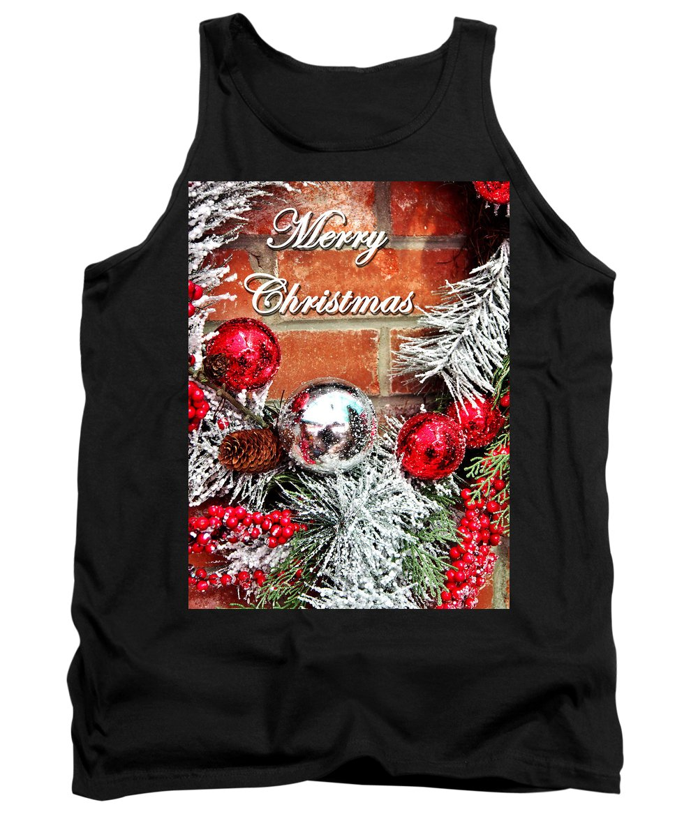 Wreath Tank Top featuring the photograph Merry Christmas by David Pantuso