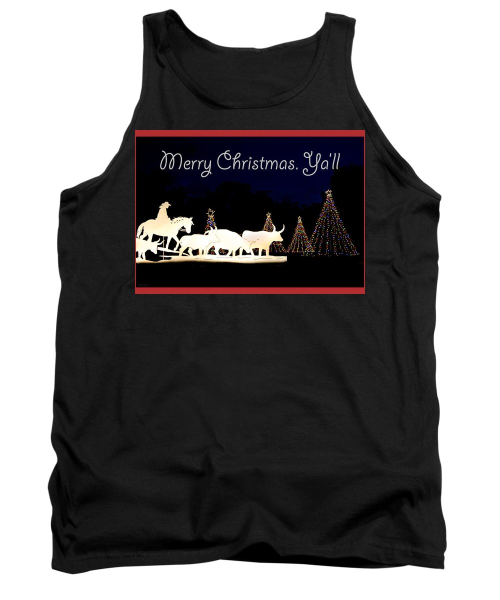 Christmas Card Tank Top featuring the photograph Merry Christmas Ya'll by Debbie Karnes