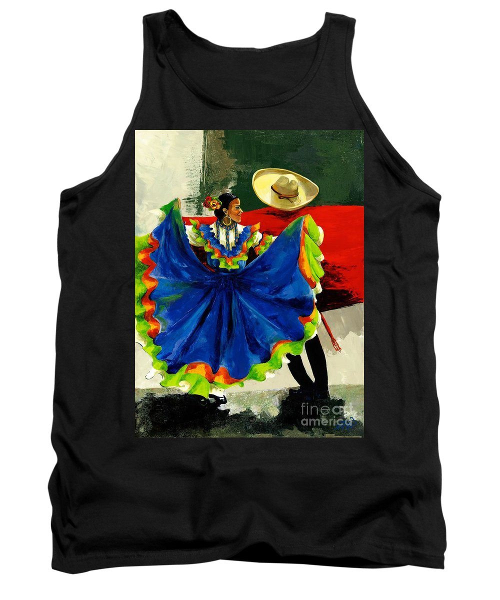 Canvas Prints Tank Top featuring the painting Mexican Dancers by Elisabeta Hermann