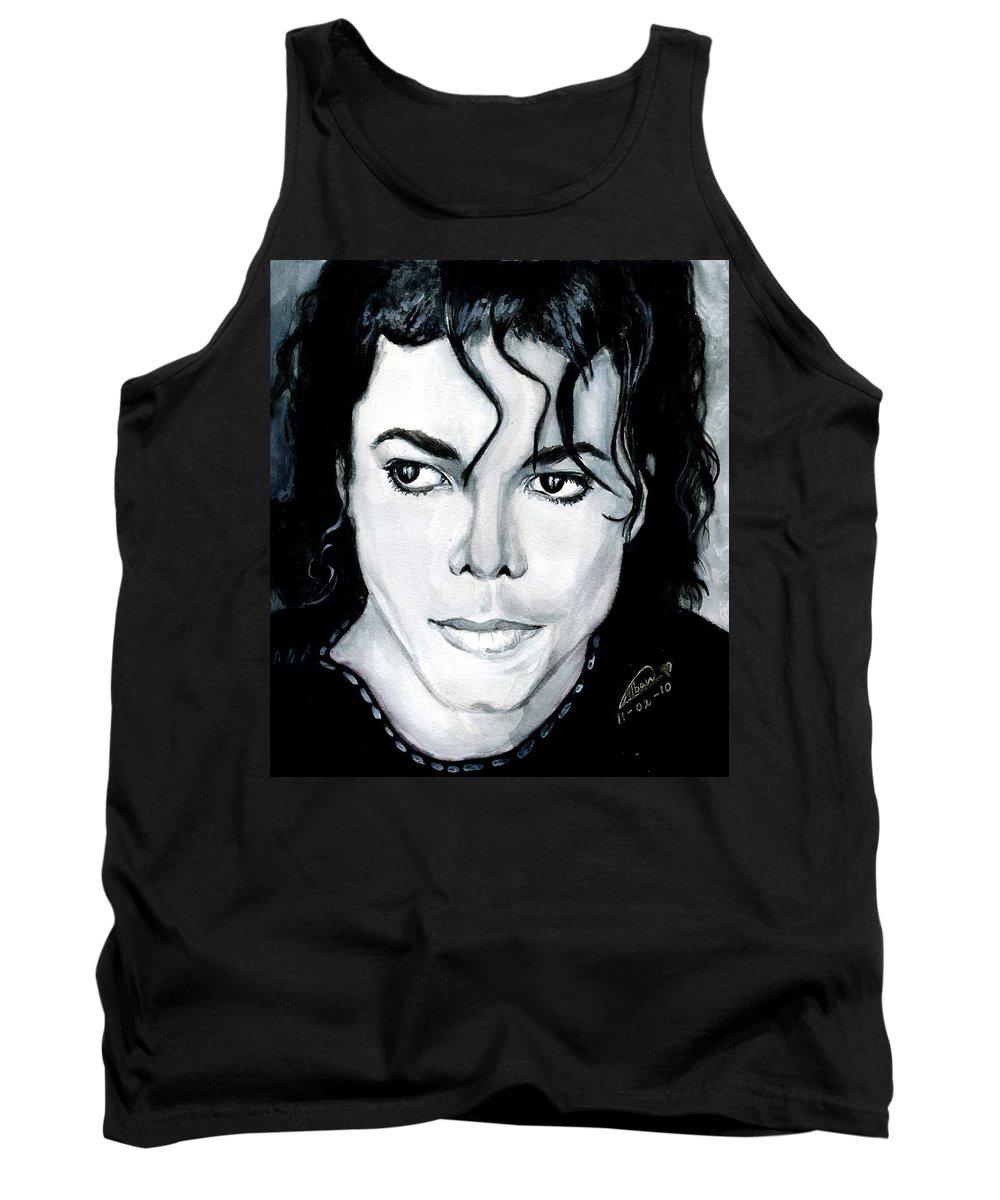 Michael Jackson Tank Top featuring the painting Michael Jackson Portrait by Alban Dizdari