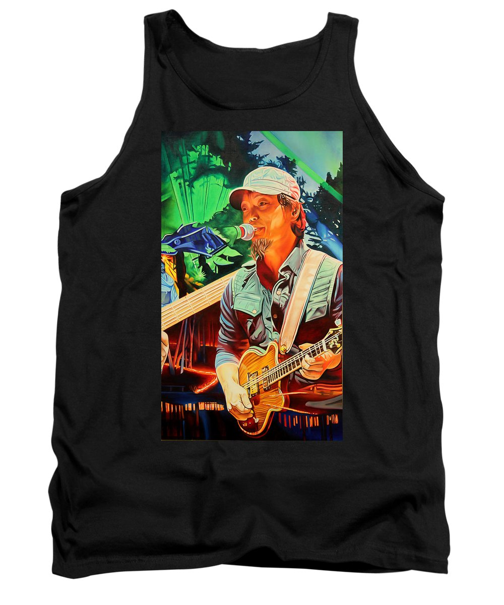 The String Cheese Incident Tank Top featuring the painting Michael Kang At Horning's Hideout by Joshua Morton