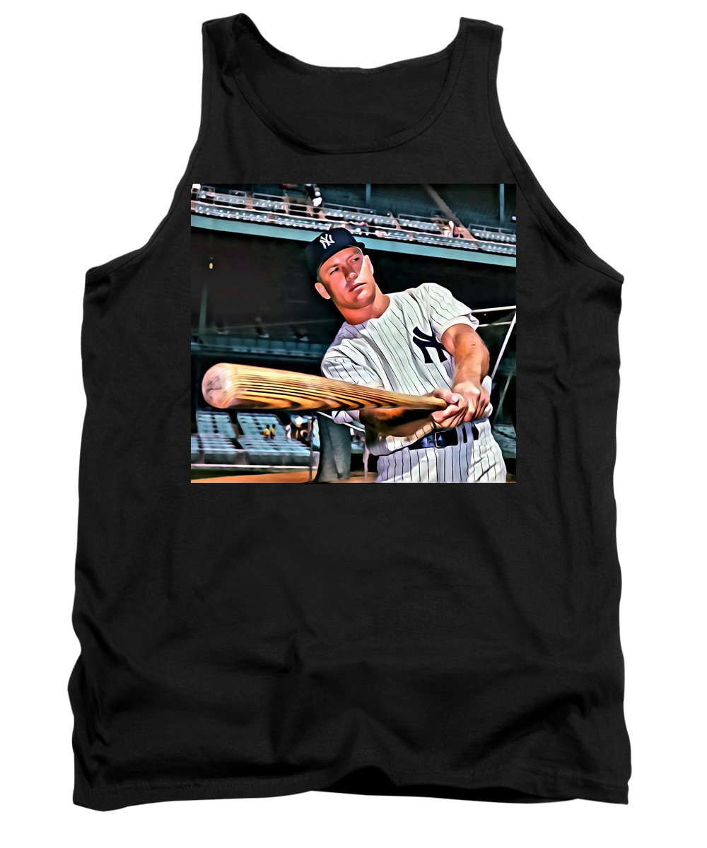 Mlb Tank Top featuring the painting Mickey Mantle Painting by Florian Rodarte