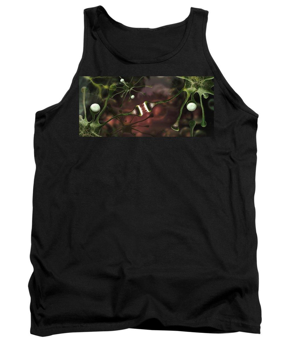 Photography Tank Top featuring the photograph Microscopic Image Of Brain Neurons by Panoramic Images