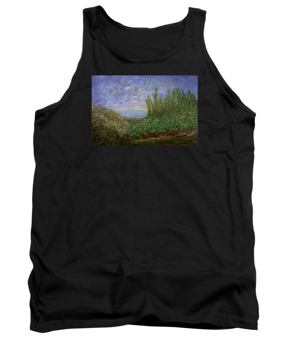 Evening Landscape Tank Top featuring the painting Midnight Lullaby by Sara Credito