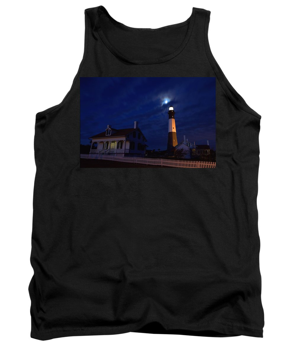 9431 Tank Top featuring the photograph Midnight Moon Over Tybee Island by Gordon Elwell