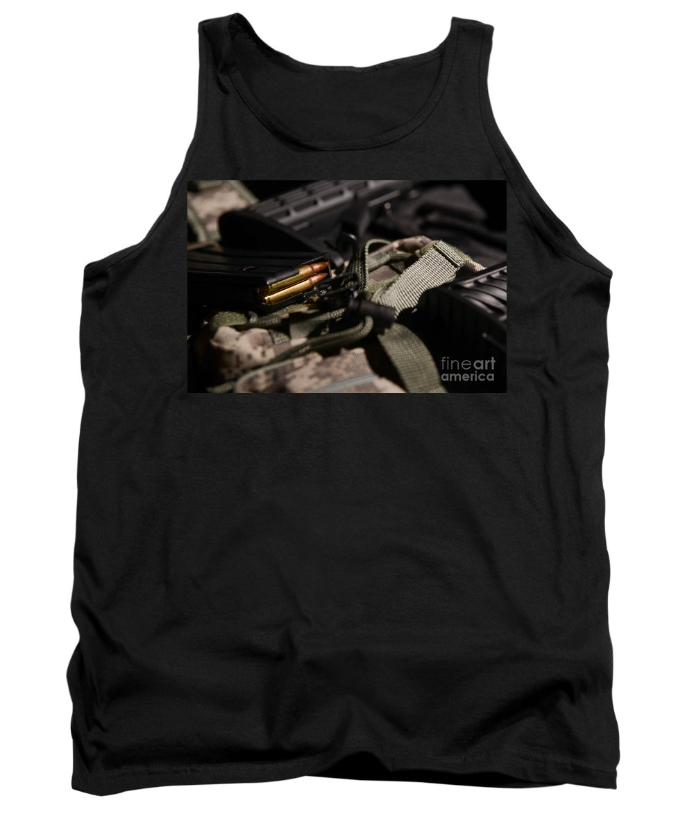 Gun Tank Top featuring the photograph Military Pile by Jt PhotoDesign