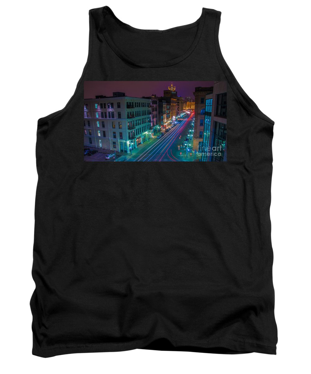 Architecture Tank Top featuring the photograph Milwaukee's Evening Active Glow by Andrew Slater