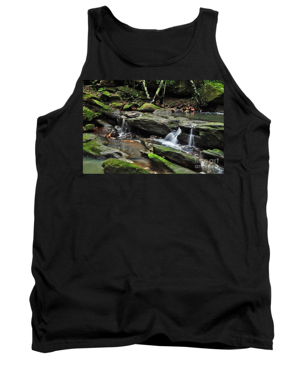 Photography Tank Top featuring the photograph Mini Waterfalls by Kaye Menner