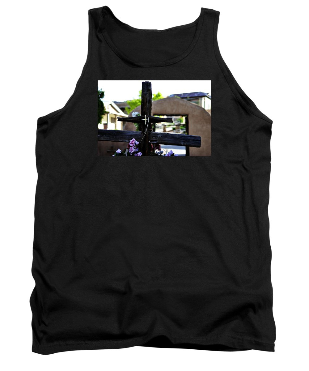 Religious Tank Top featuring the photograph Mission Cross by Pam Romjue