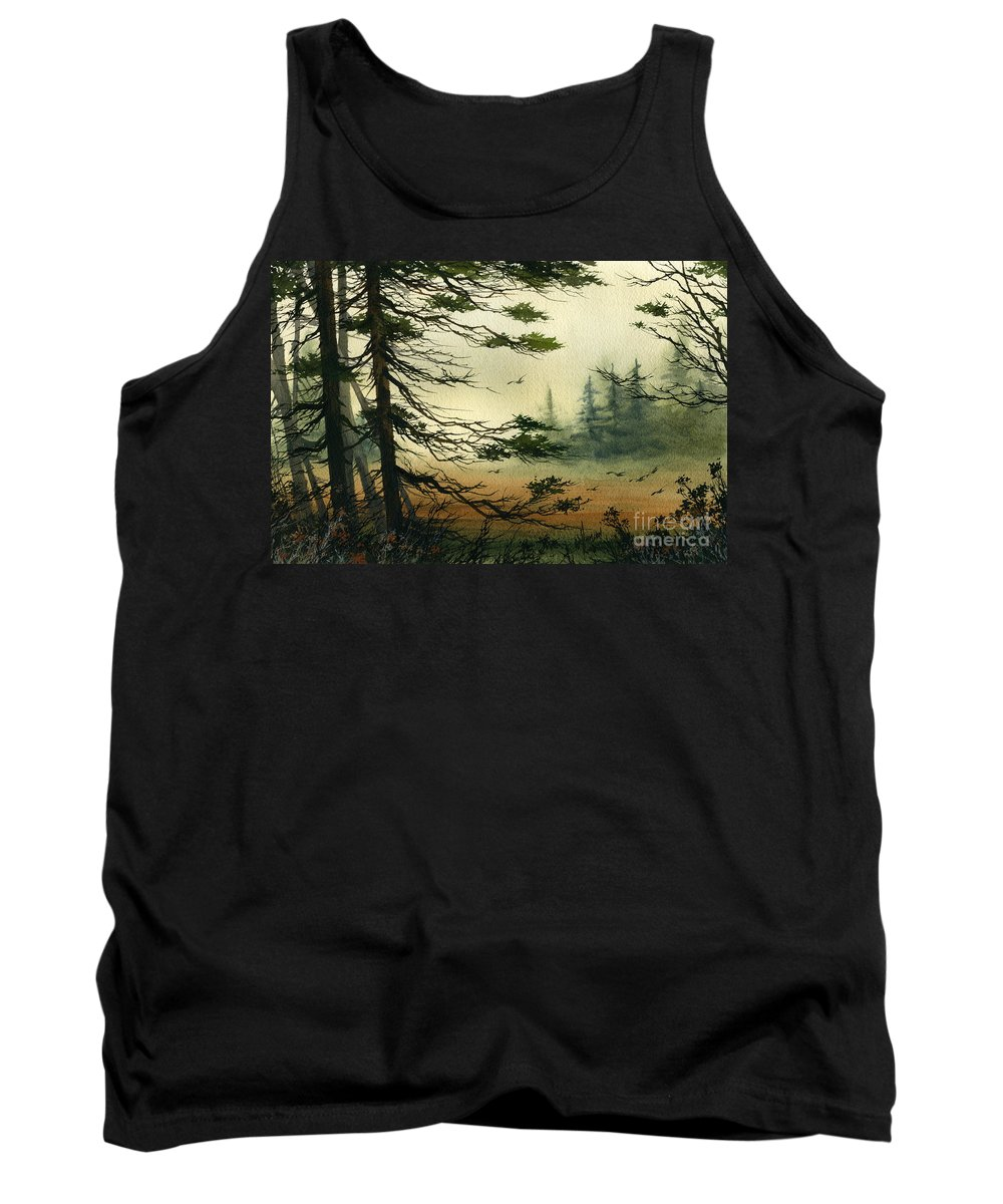 Misty Watercolors Tank Top featuring the painting Misty Tideland Forest by James Williamson