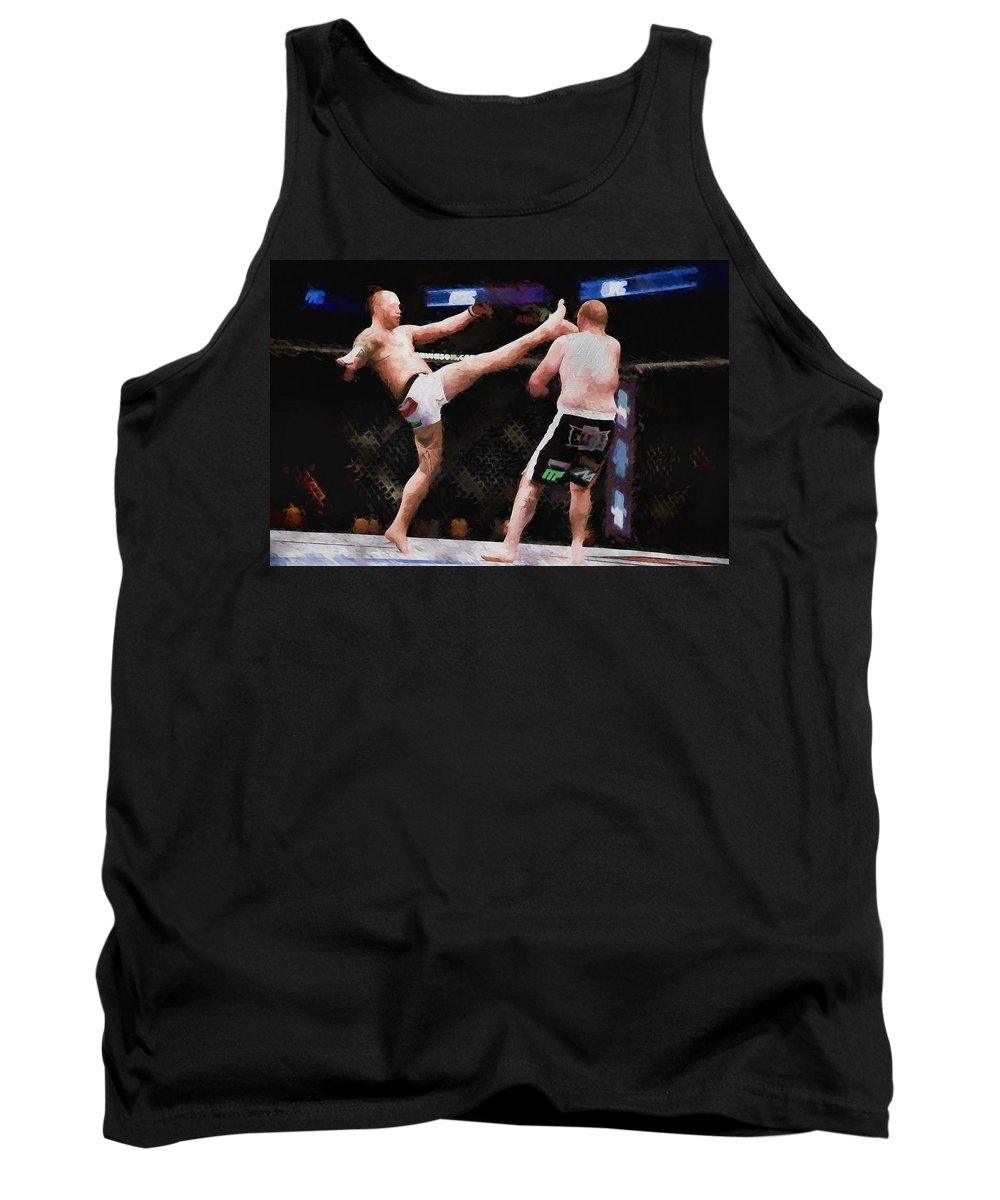 Mma Tank Top featuring the painting Mixed Martial Arts - A Kick To The Head by Elaine Plesser