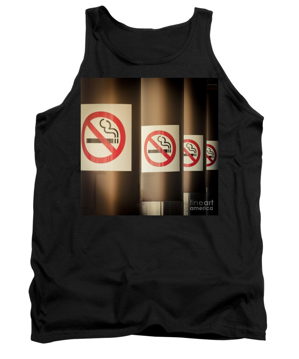 Addiction Tank Top featuring the photograph Mobile Photography Toned Row Of No Smoking Signs by Stephan Pietzko
