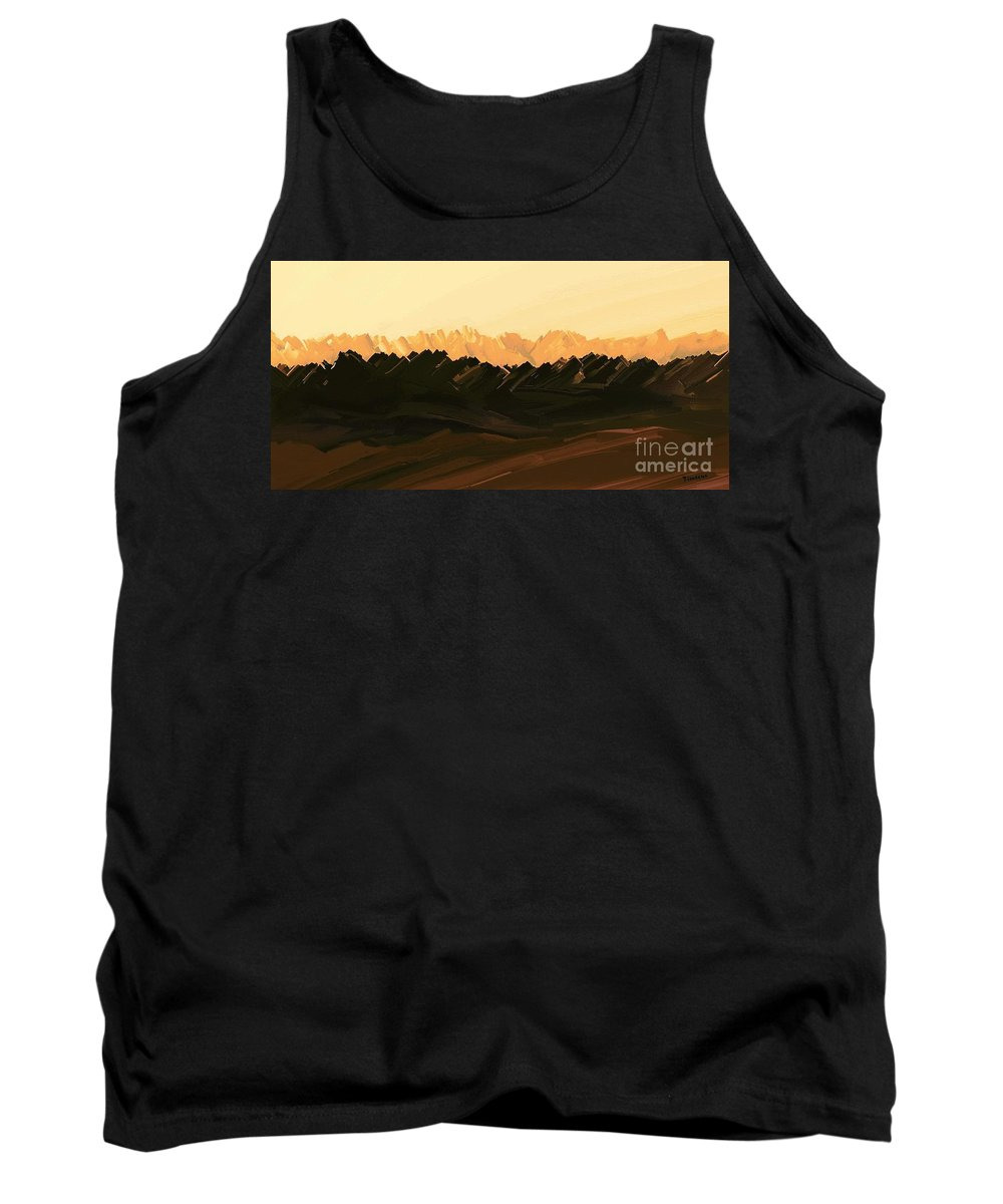 Digital Hand-drawn Painting Tank Top featuring the painting Mohave Desert Mountains by Tim Richards