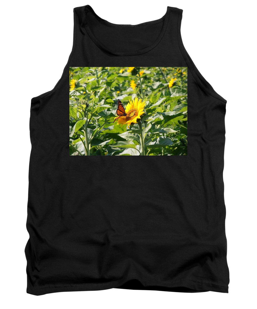 Monarch Tank Top featuring the photograph Monarch Butterfly And Guest by Kimberly Perry