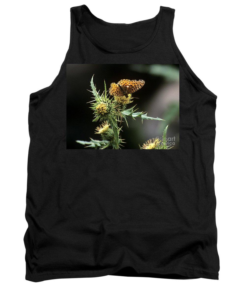 Butterfly Tank Top featuring the photograph Monarch On Thistle by Kathy McClure