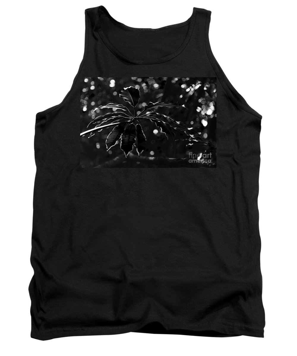 Black Tank Top featuring the photograph Monochrome Leaf by Nicholas Burningham