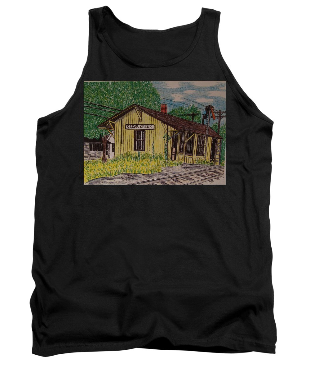 Monon. Monon Train Tank Top featuring the painting Monon Clear Creek Indiana Train Depot by Kathy Marrs Chandler