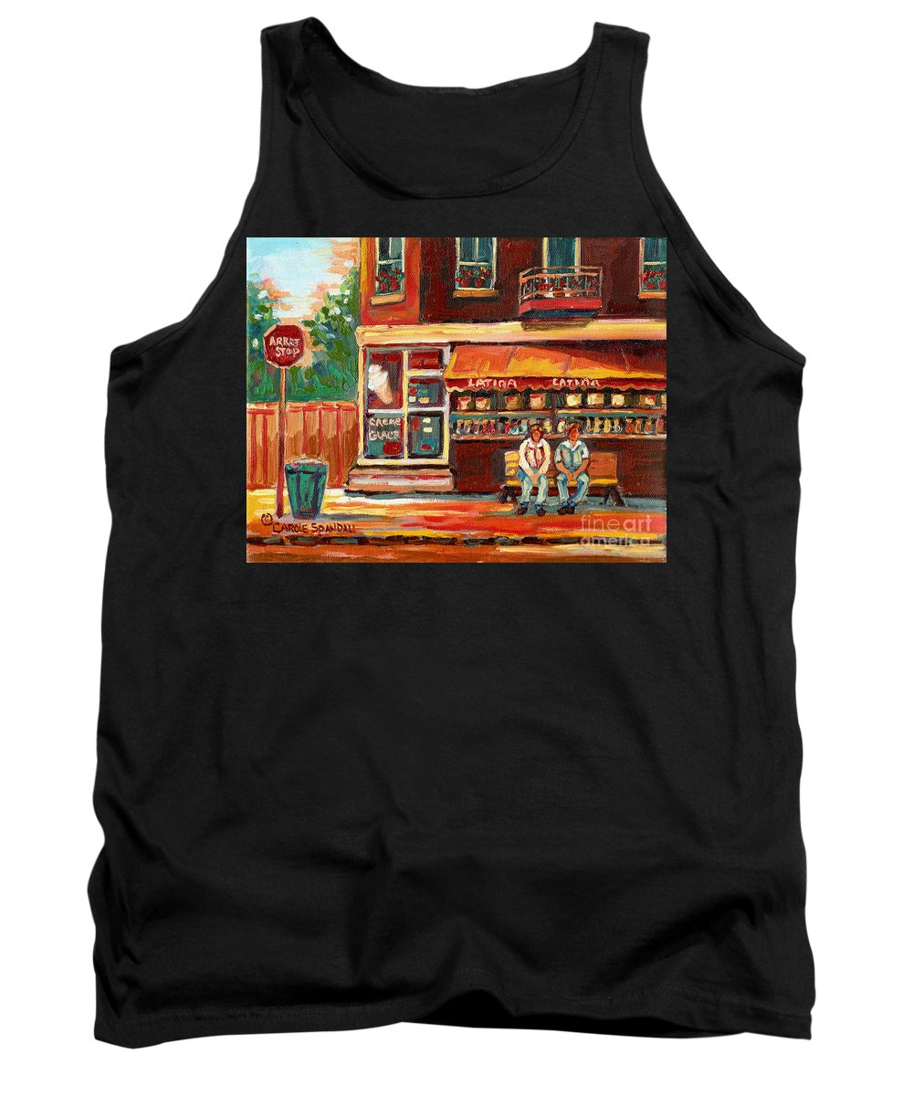 Montreal Tank Top featuring the painting Montreal Street Scene Paintings by Carole Spandau