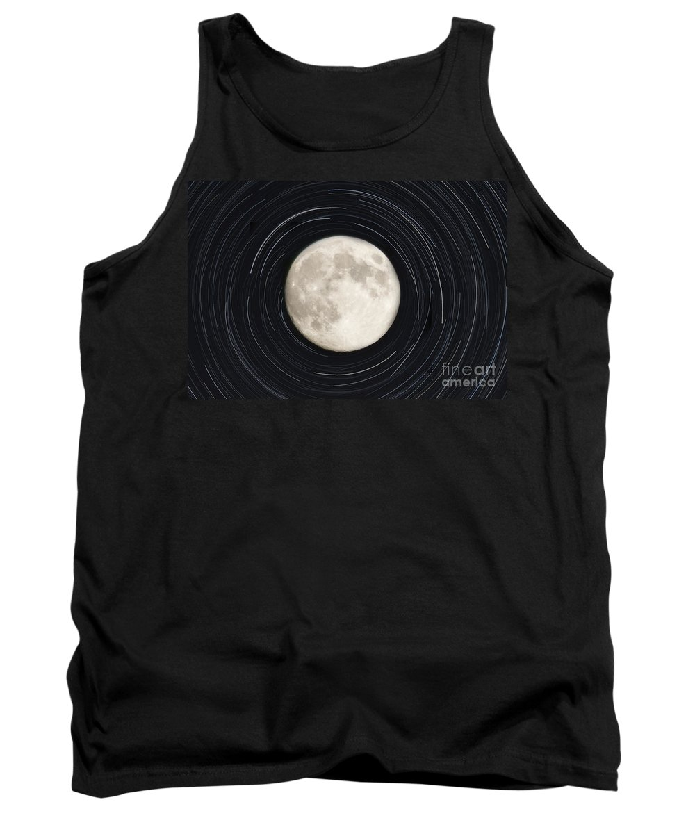 Moon Tank Top featuring the photograph Moon And Startrails by Darleen Stry