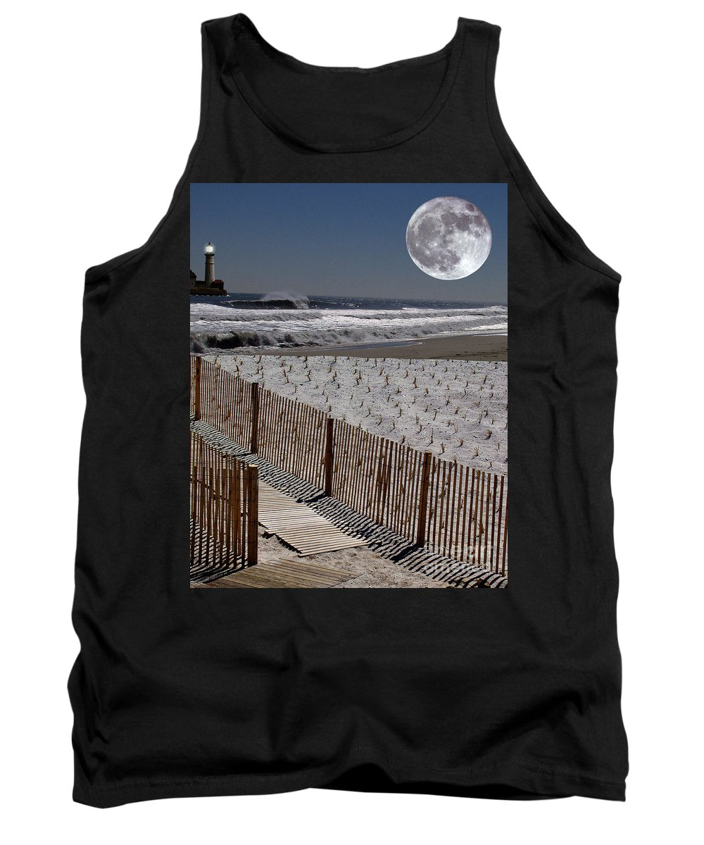 Water Tank Top featuring the digital art Moon Bay by Keith Dillon