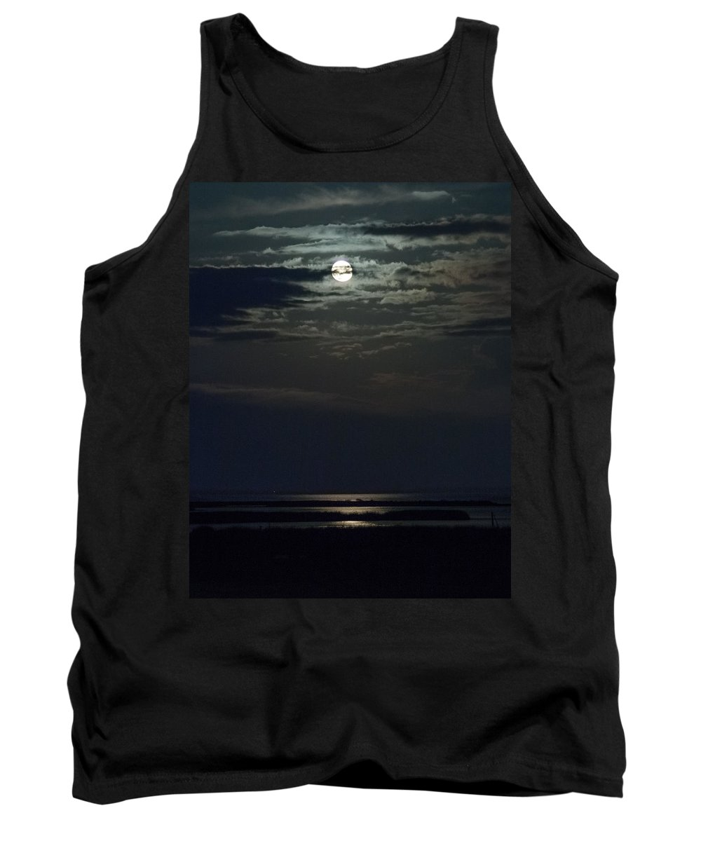 Moon Tank Top featuring the photograph Moon Over Core Sound by Paula OMalley