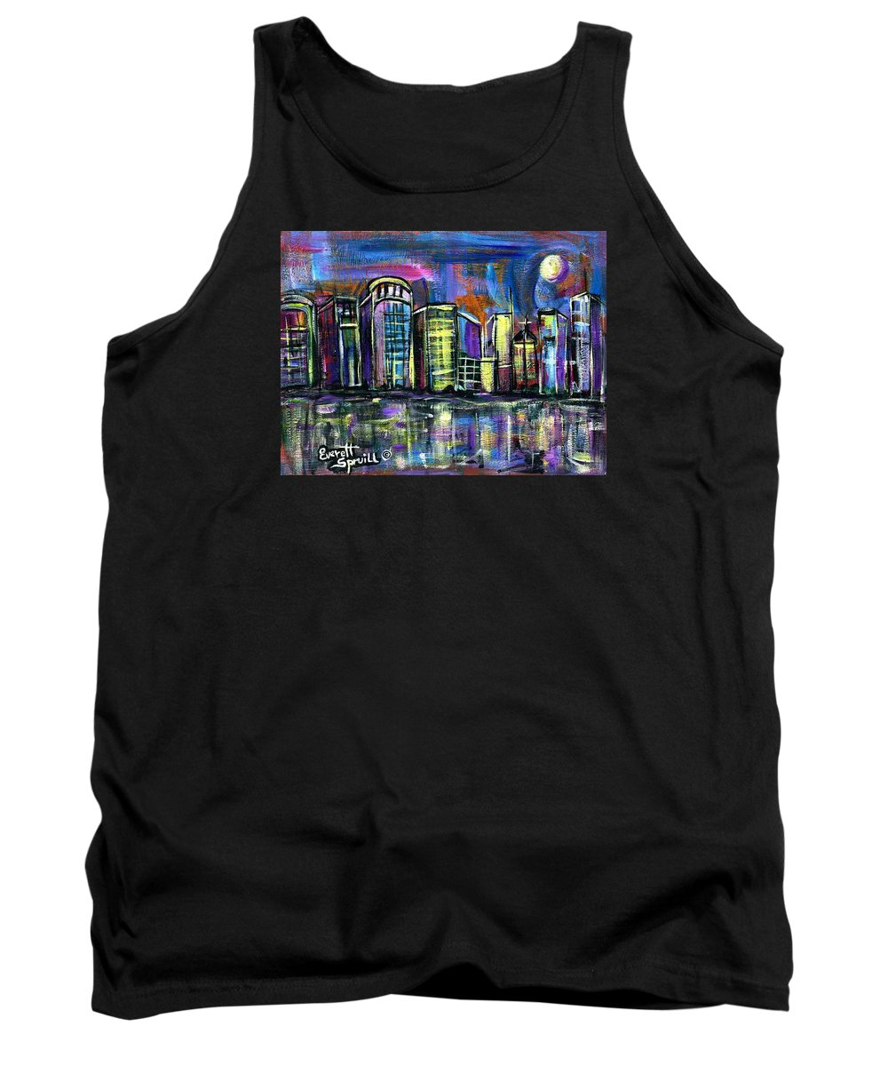 Everett Spruill Tank Top featuring the painting Moon over Orlando by Everett Spruill