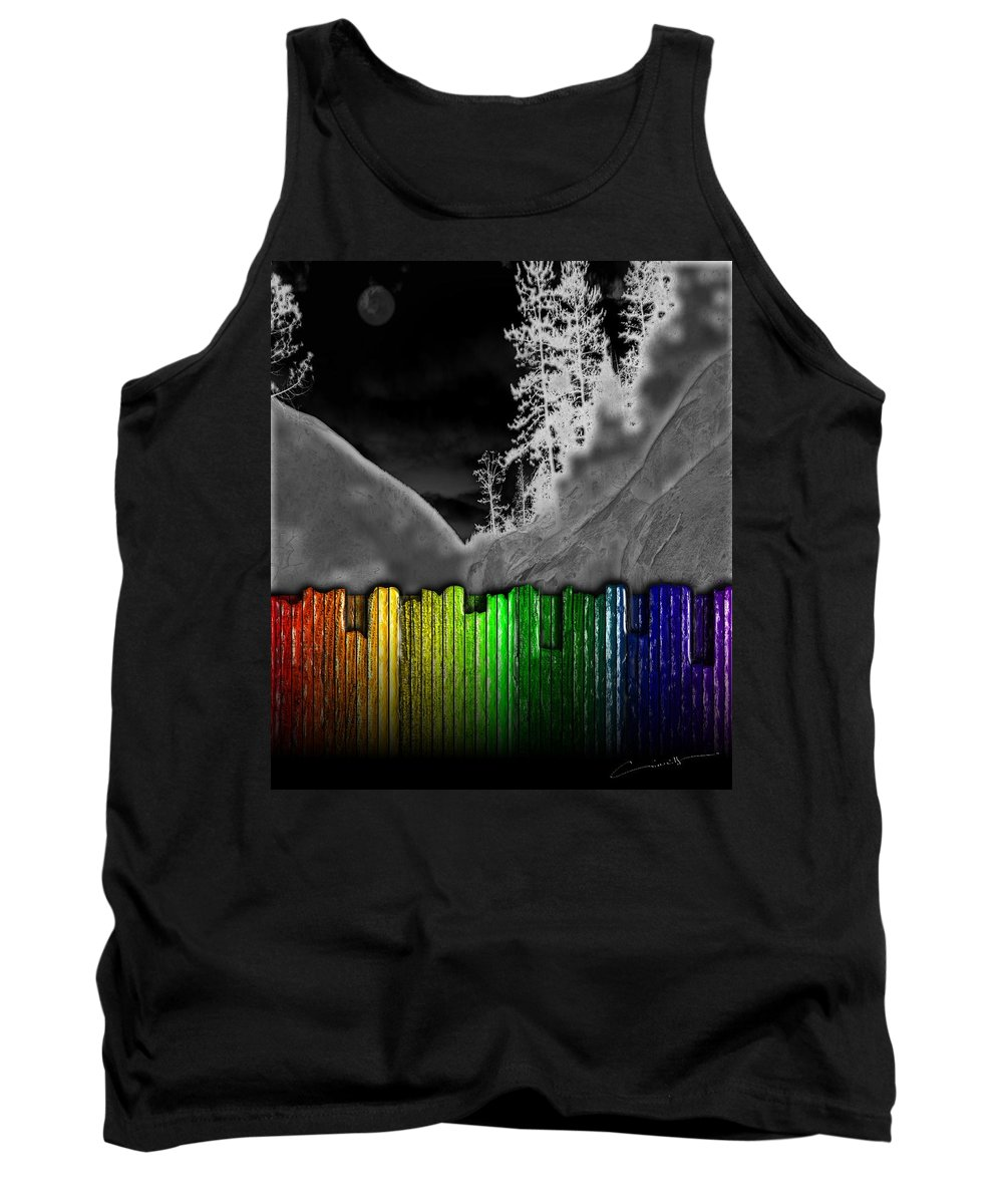 Moon Tank Top featuring the digital art Moonlit Mountainside Behind Rainbow Fence by Michael Hurwitz