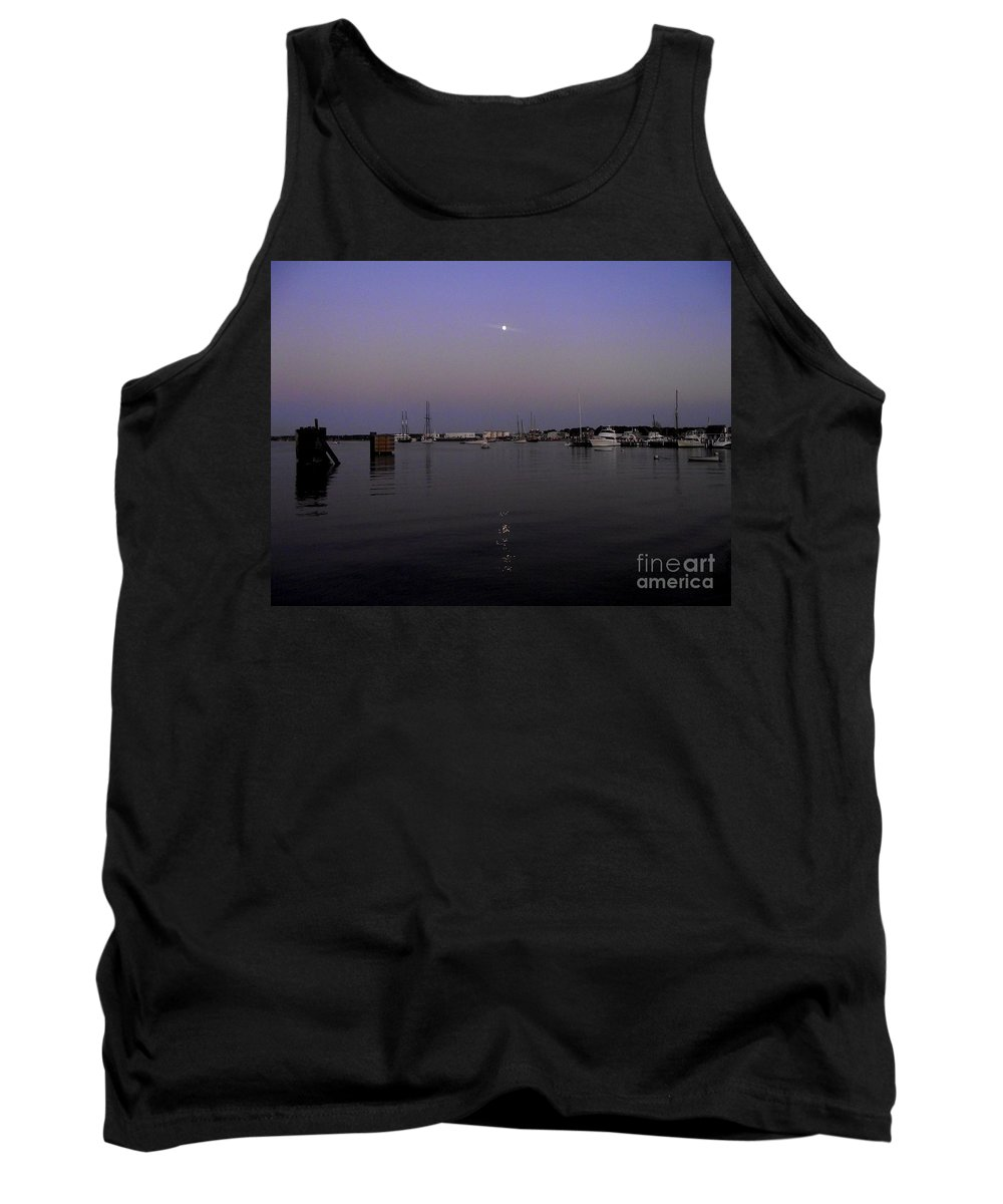 Moonrise Tank Top featuring the photograph Moonrise Over The Harbor by CapeScapes Fine Art Photography