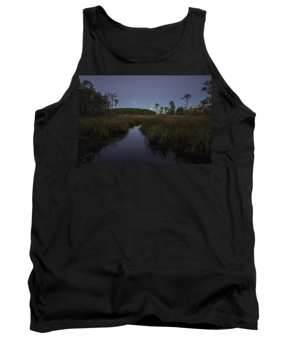 Palm Tank Top featuring the digital art Moonset Over Bon Secour Bayou by Michael Thomas