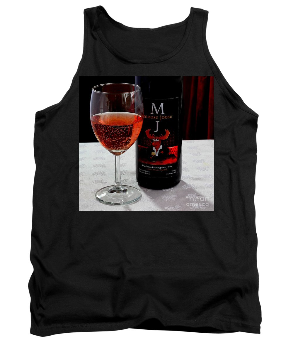 Moose Joose Tank Top featuring the photograph Moose Joose - Blueberry Partridgeberry Wine by Barbara Griffin