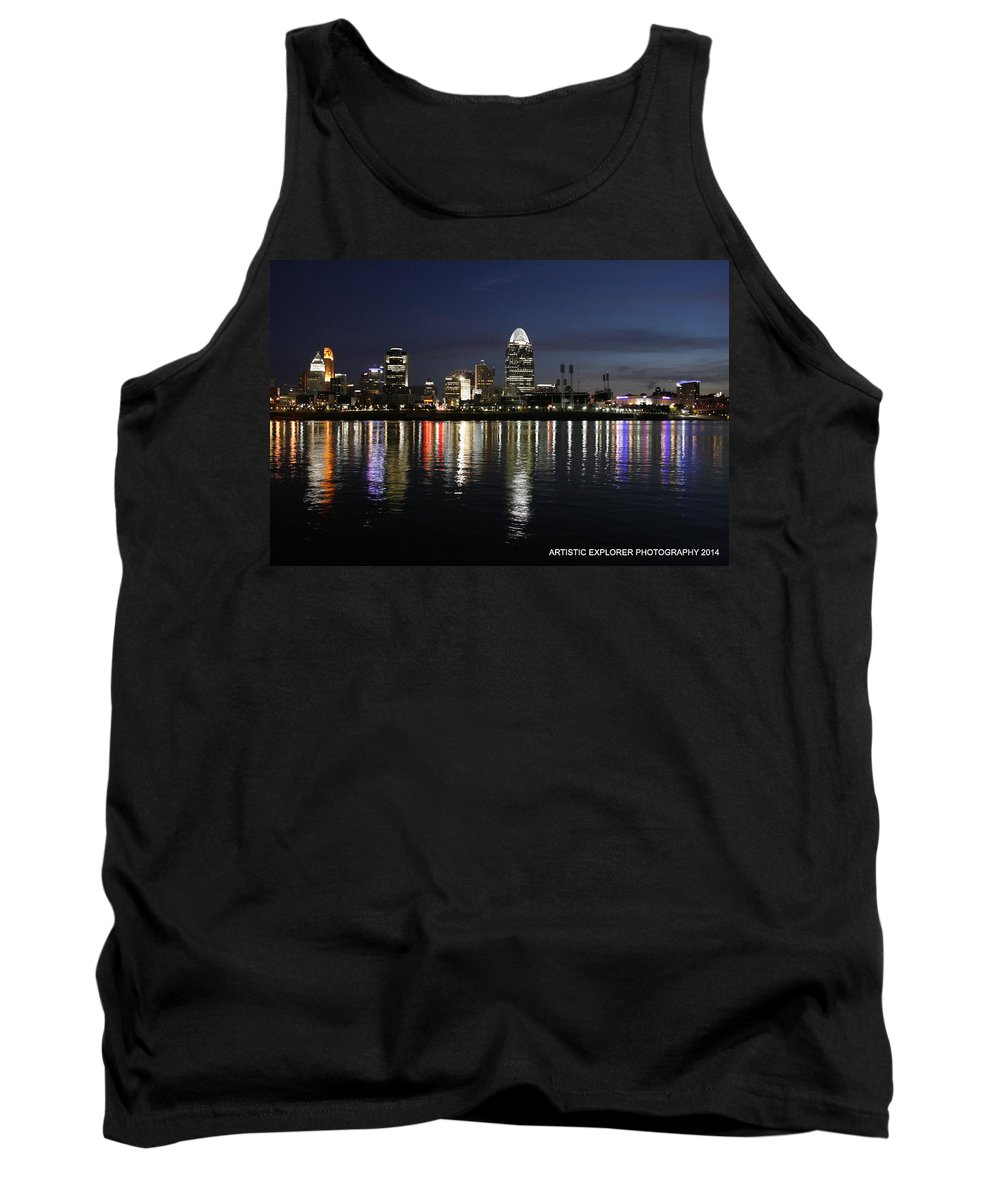 River Tank Top featuring the photograph Morning Skyline Wo Bridge I by Artistic Explorer Creations By Gregg L Walker