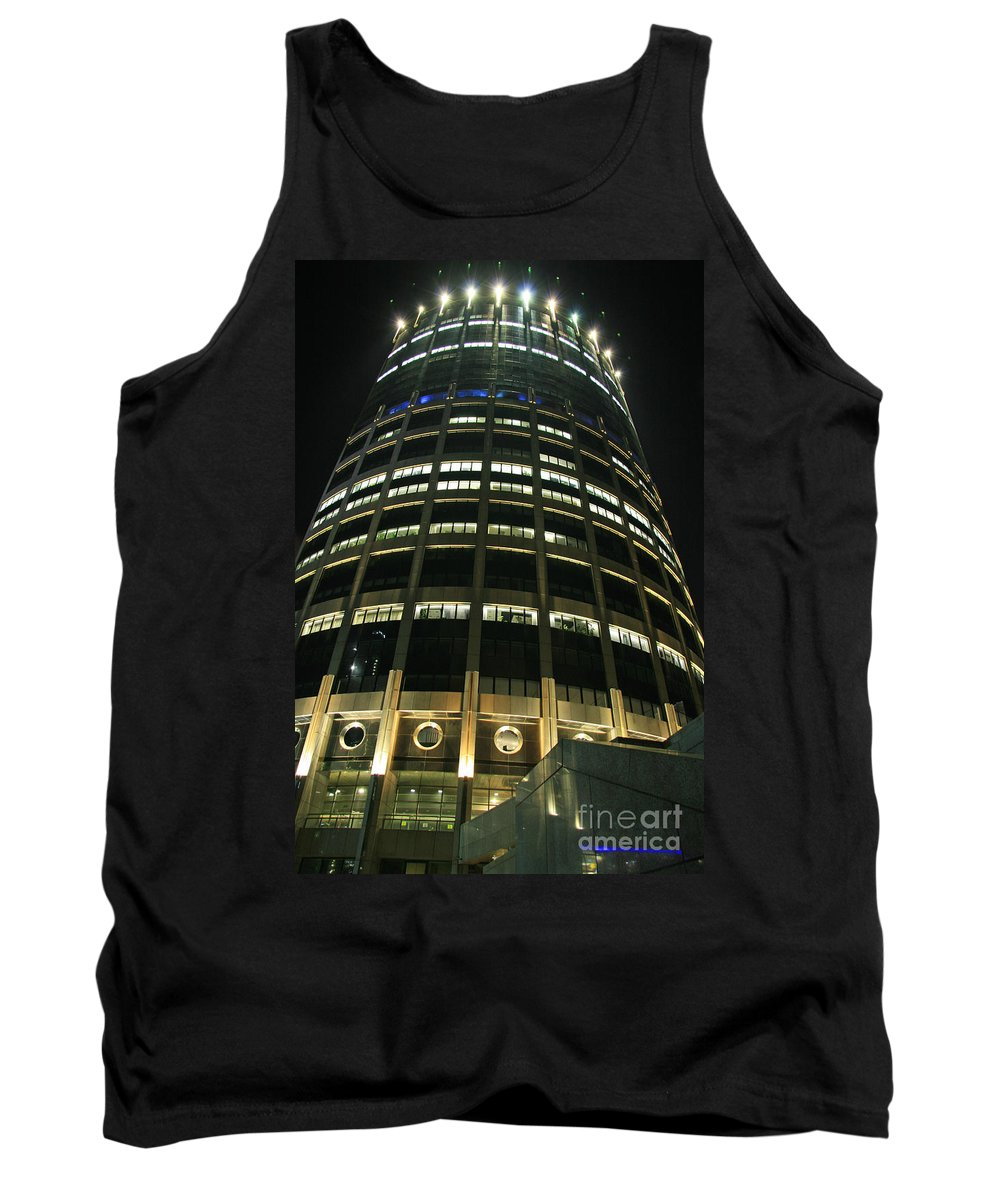 Night Tank Top featuring the photograph Moscow Skyscraper Night by Lali Kacharava