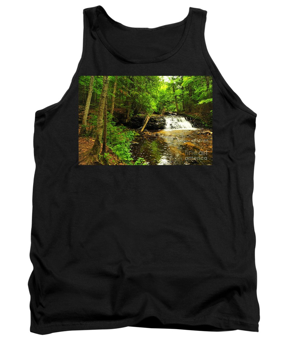 Mosquito Falls Tank Top featuring the photograph Mosquito Falls In Michigan Usa by Terri Gostola