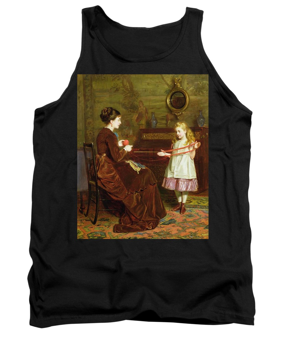 Winding Tank Top featuring the painting Mothers Little Helper by George Goodwin Kilburne
