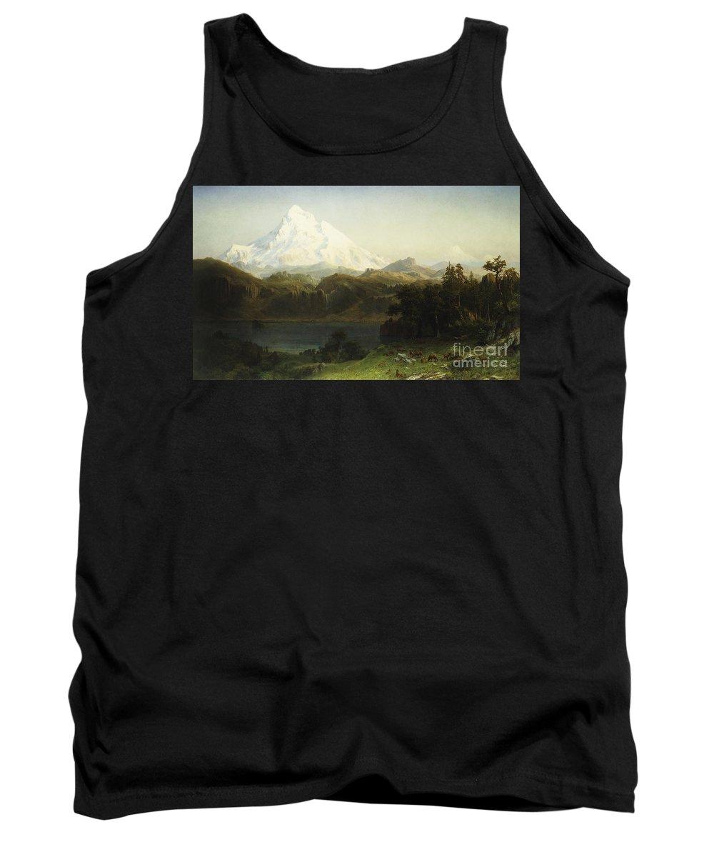 Mountain Tank Top featuring the painting Mount Hood In Oregon by Albert Bierstadt