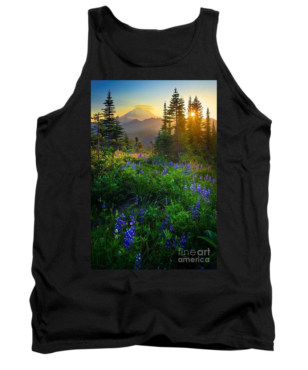 America Tank Top featuring the photograph Mount Rainier Sunburst by Inge Johnsson