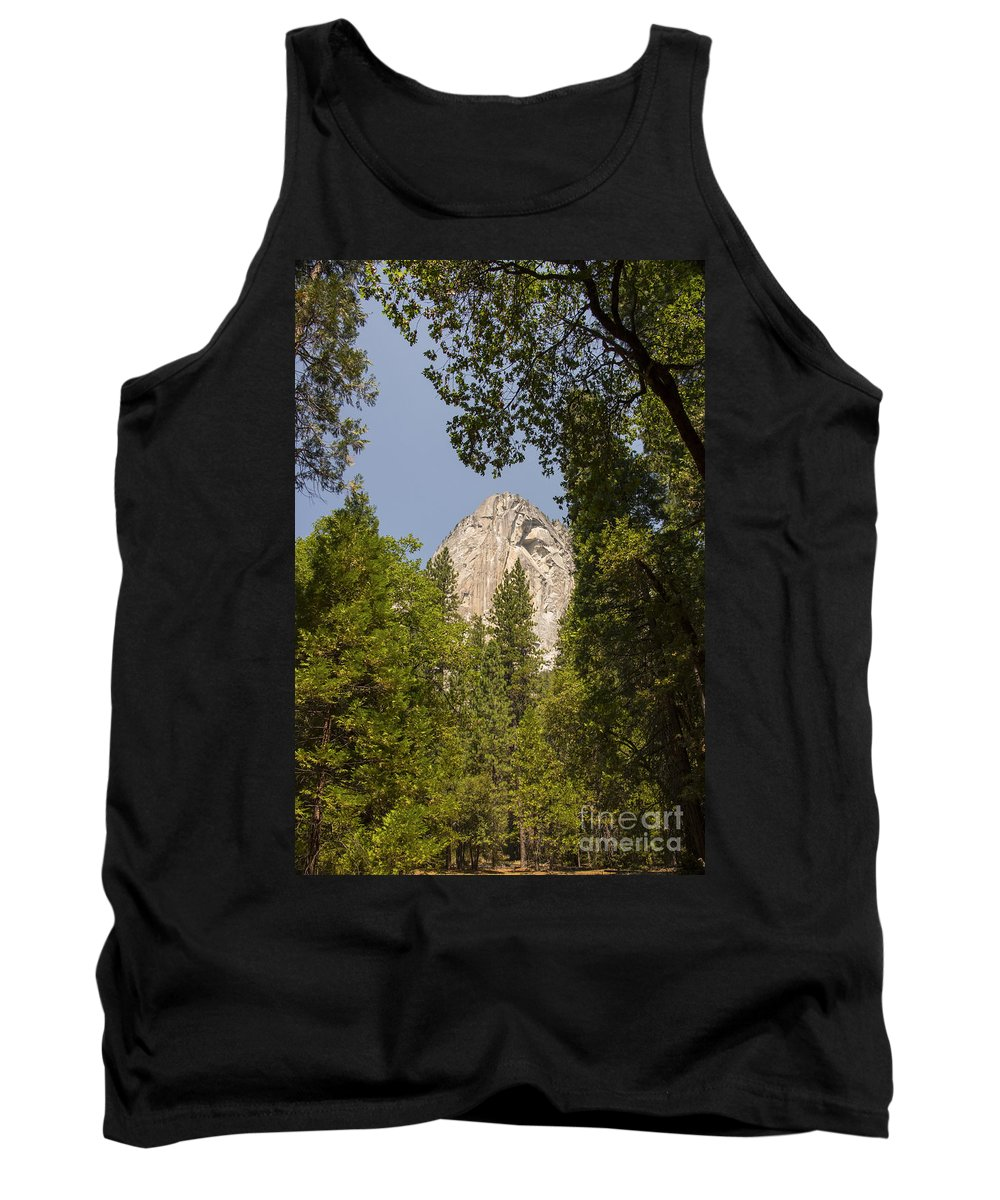 Yosemite National Park California Parks Mountain Peak Peaks Tree Trees Mountains Landscape Landscapes Tank Top featuring the photograph Mountain Peak In Yosemite National Park by Bob Phillips