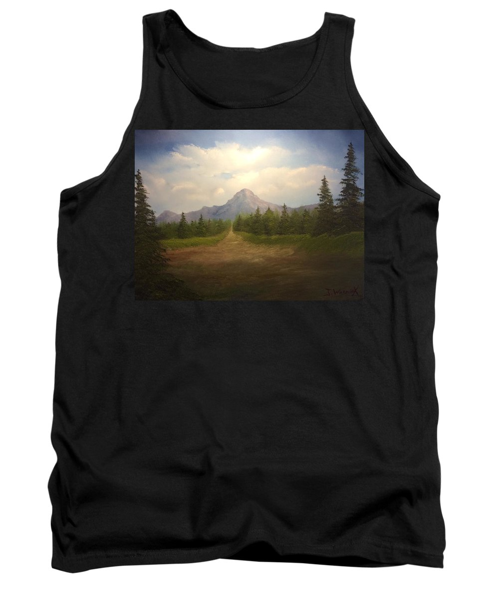 Landscape. Oil Painting. Mountains Sky. Clouds. Evergreens. Tank Top featuring the painting Mountain Run Road by Justin Wozniak