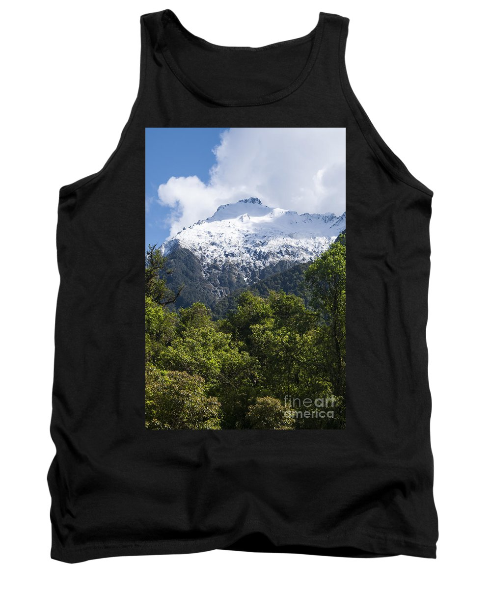 Mt. Aspiring National Park New Zealand Tree Trees Mountain Mountains Snow Landscape Landscapes Peak Peaks Snowscape Snowscapes Tank Top featuring the photograph Mt. Aspiring National Park Peaks by Bob Phillips