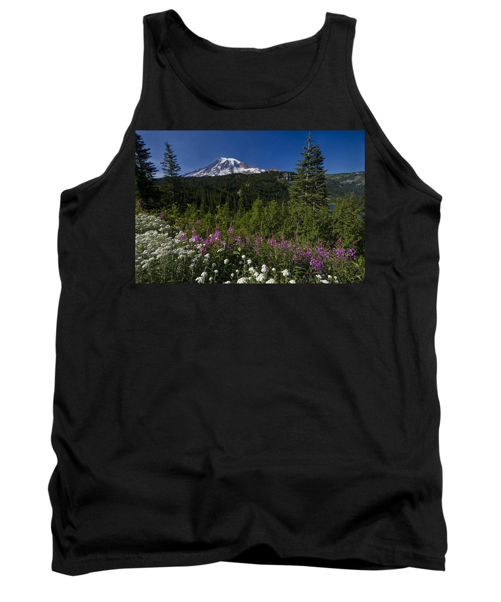 3scape Tank Top featuring the photograph Mt. Rainier by Adam Romanowicz