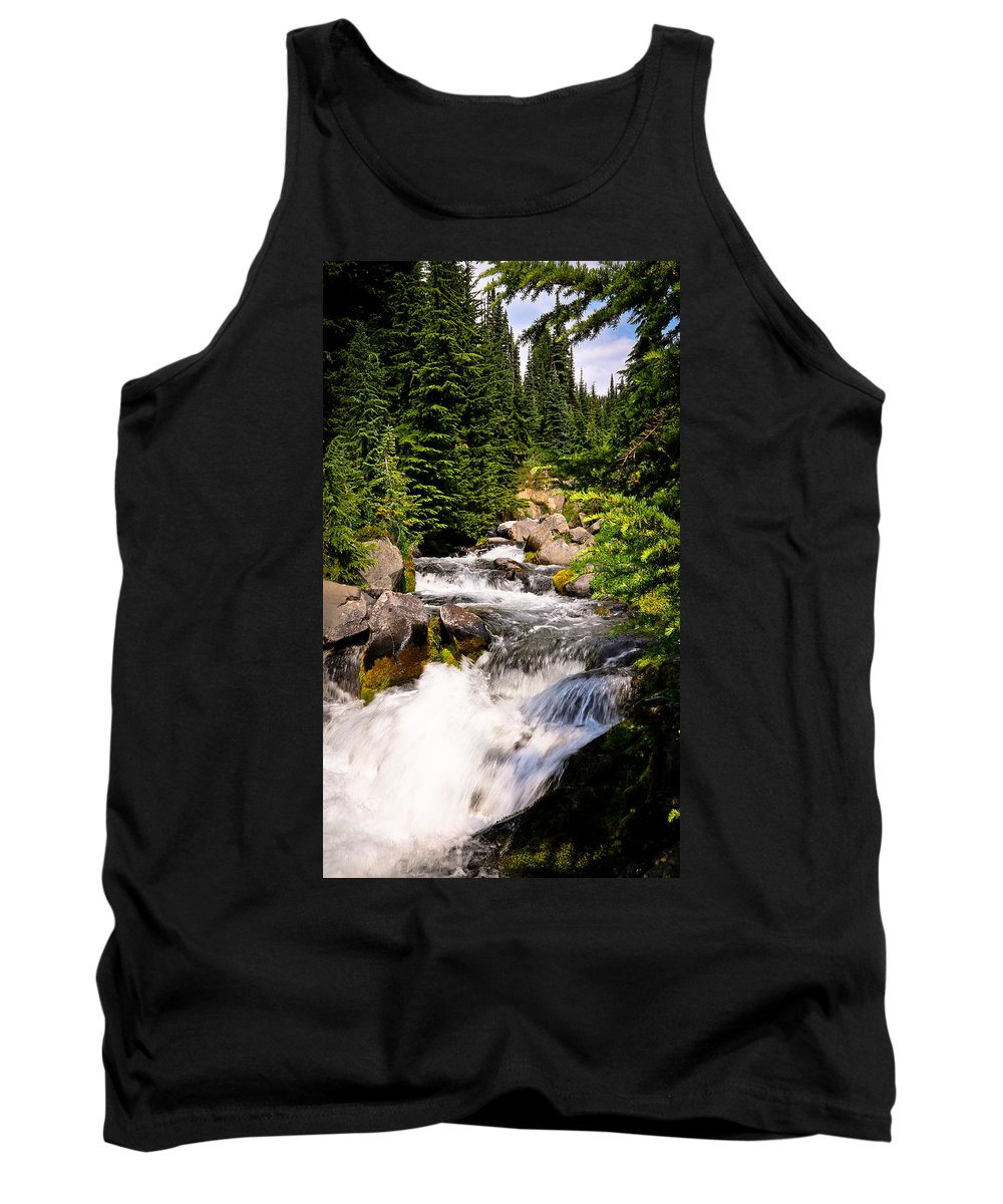 Mt. Rainier Tank Top featuring the photograph Mt. Rainier Waterfall by Athena Mckinzie