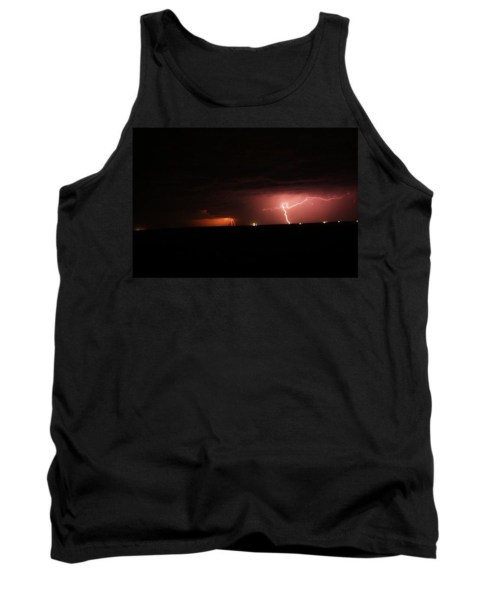 The Plains Tank Top featuring the photograph Multible Down Strikes In North Dakota by Jeff Swan