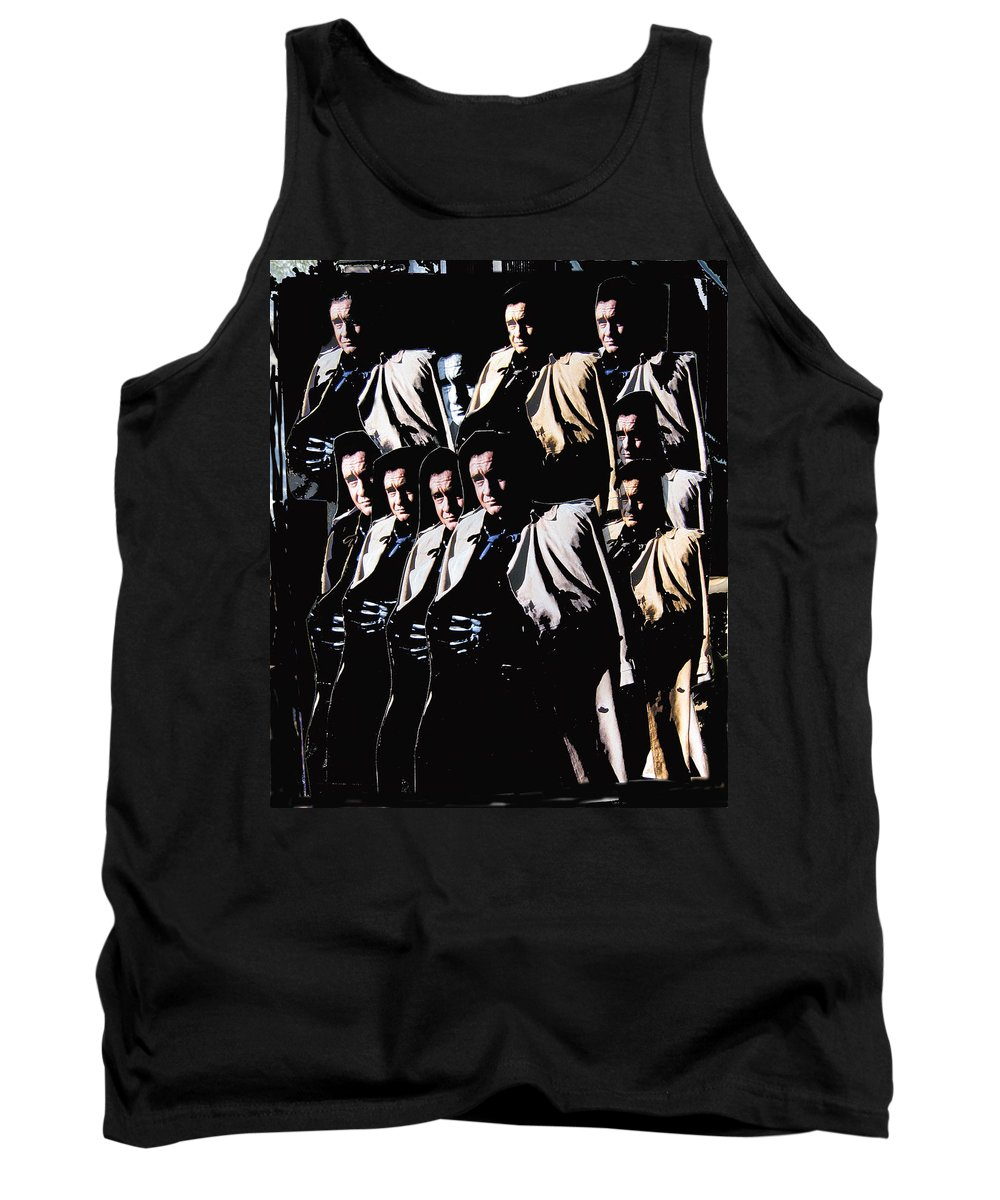 Multiple Johnny Cash's In Trench Coat 1 Collage Old Tucson Arizona 1971 Tank Top featuring the photograph Multiple Johnny Cash's In Trench Coat 1 Collage Old Tucson Arizona 1971-2008 by David Lee Guss