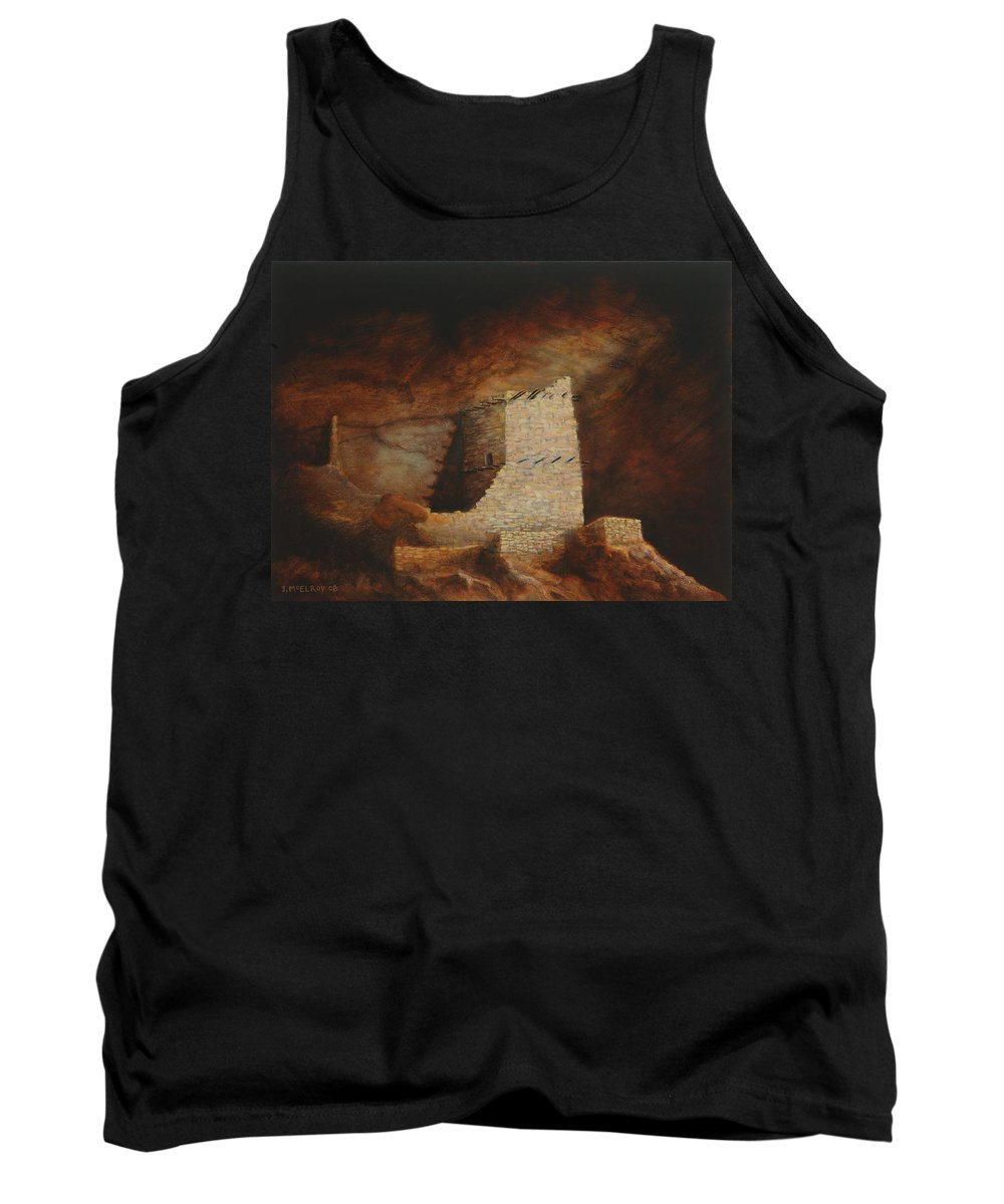Anasazi Tank Top featuring the painting Mummy Cave by Jerry McElroy