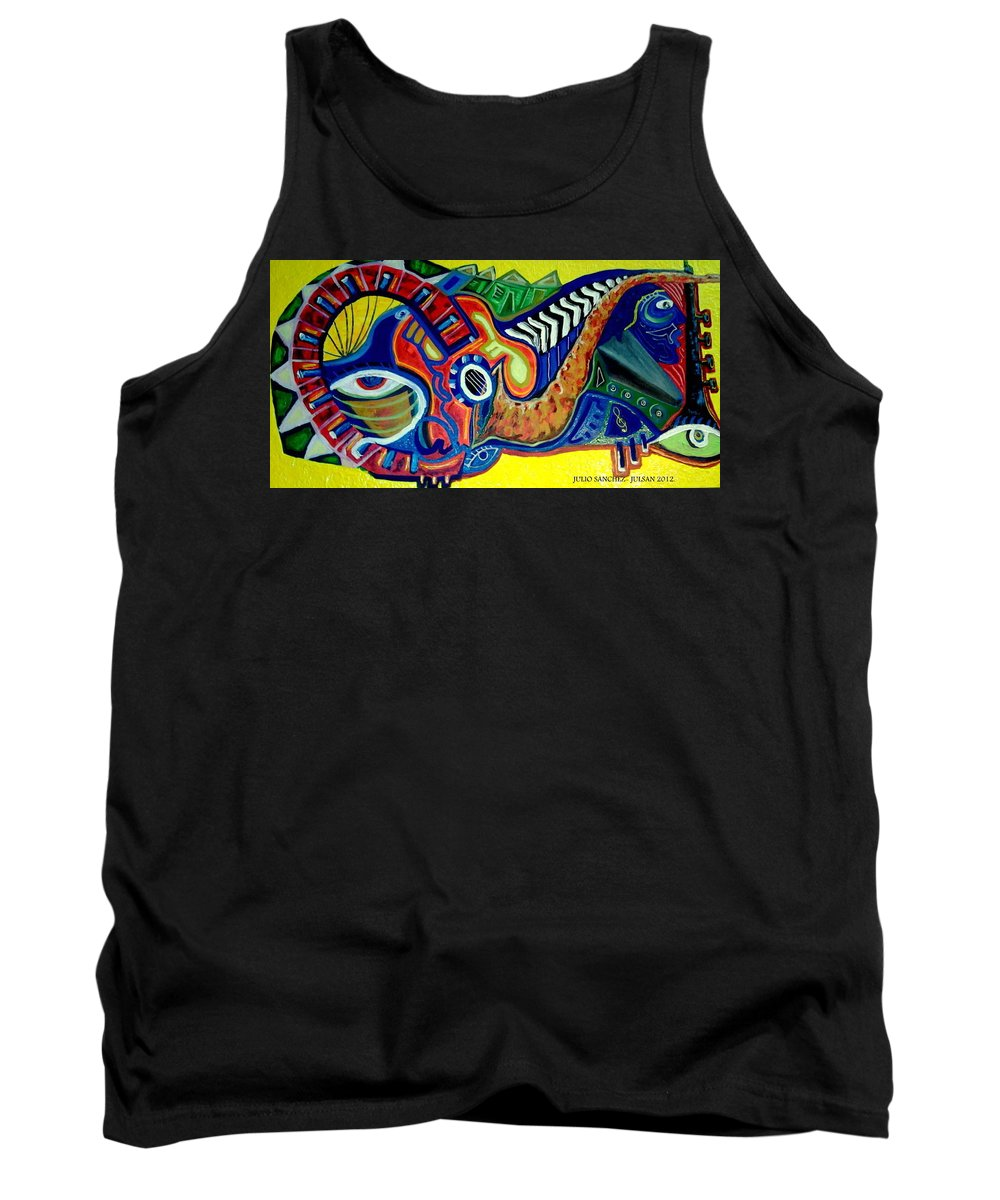 Music Tank Top featuring the painting Mundo Musical II by Julio Sanchez - Julsan