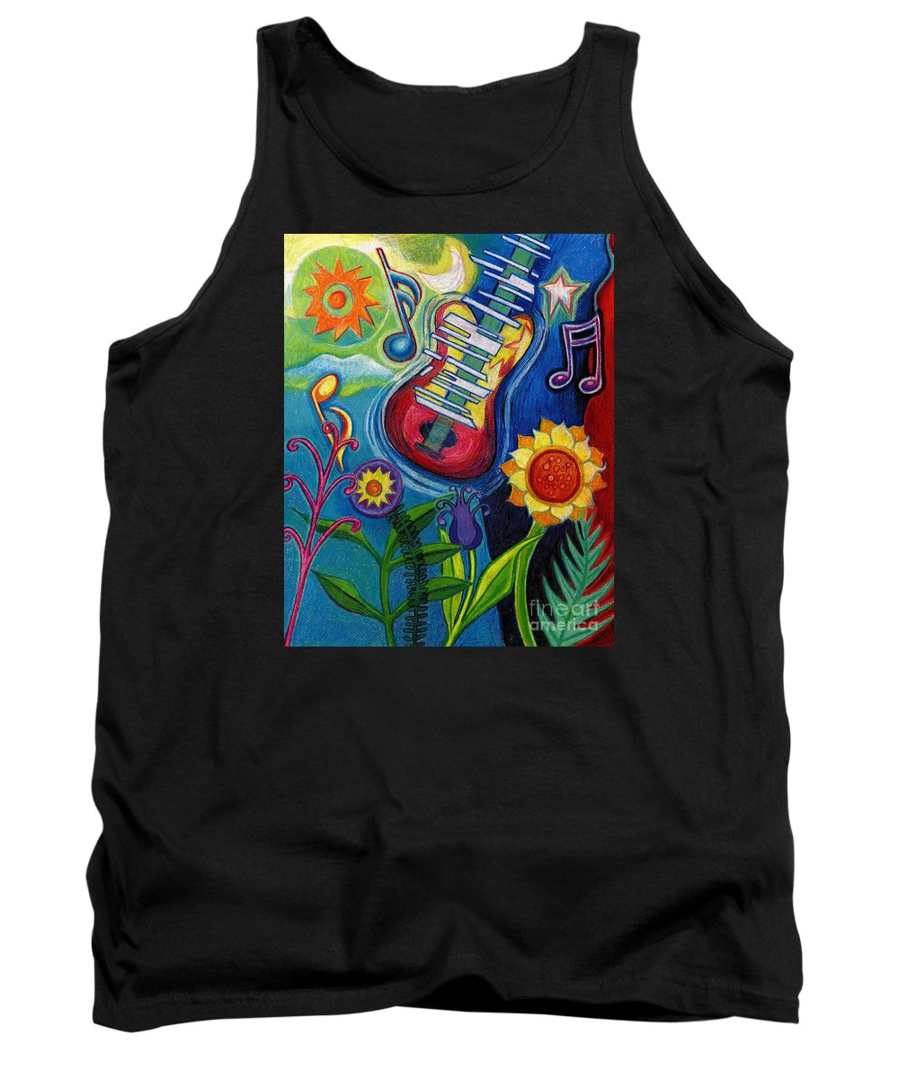 Music Tank Top featuring the drawing Music On Flowers by Genevieve Esson