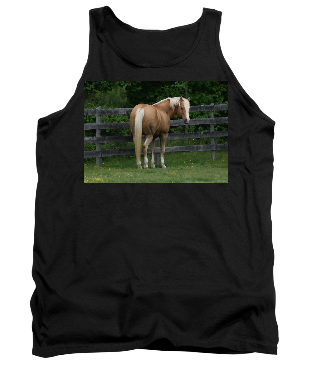 Horse Tank Top featuring the digital art My Dream Horse by Tina Meador