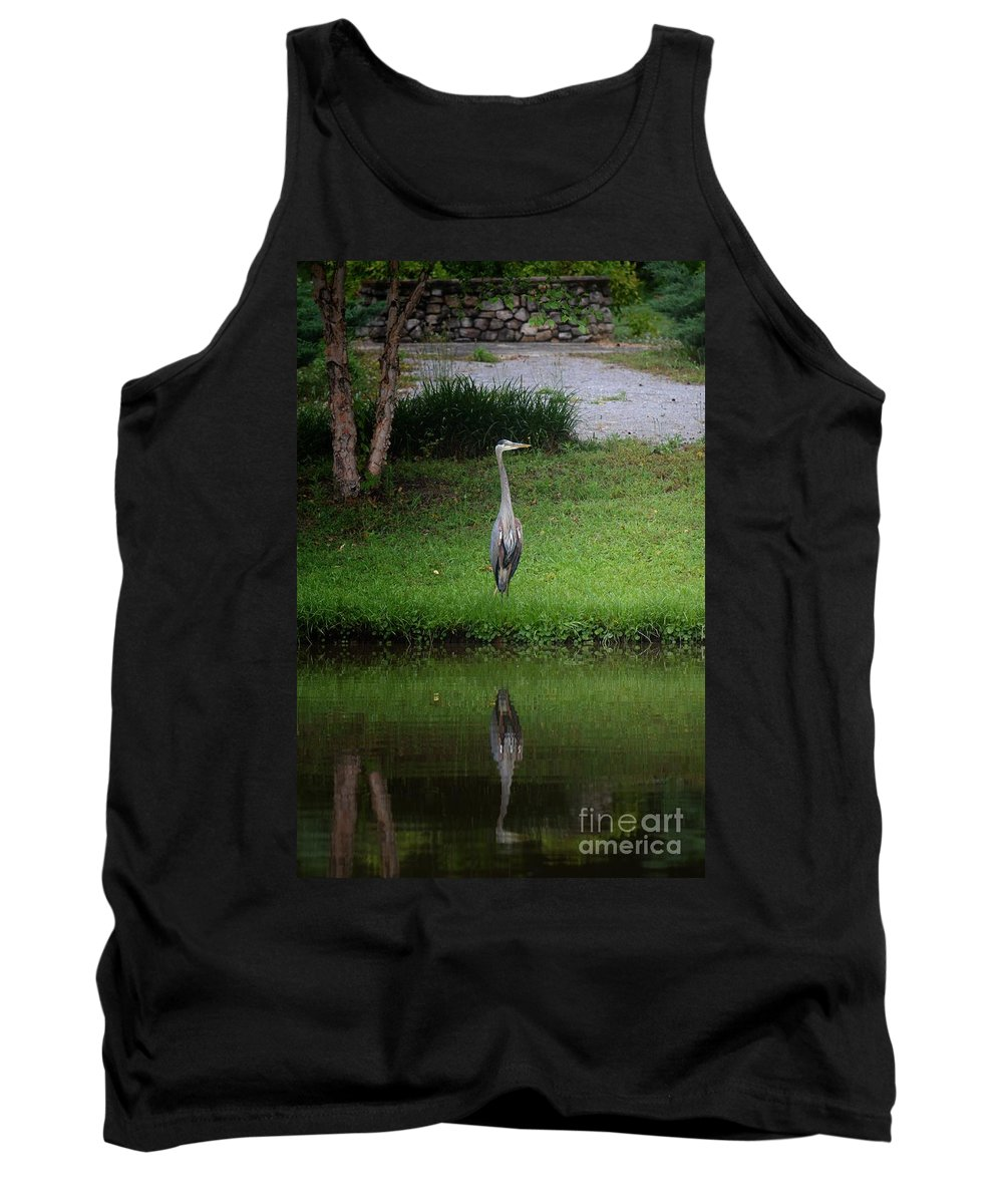 My Reflection - Heron Tank Top featuring the photograph My Reflection - Heron by Maria Urso