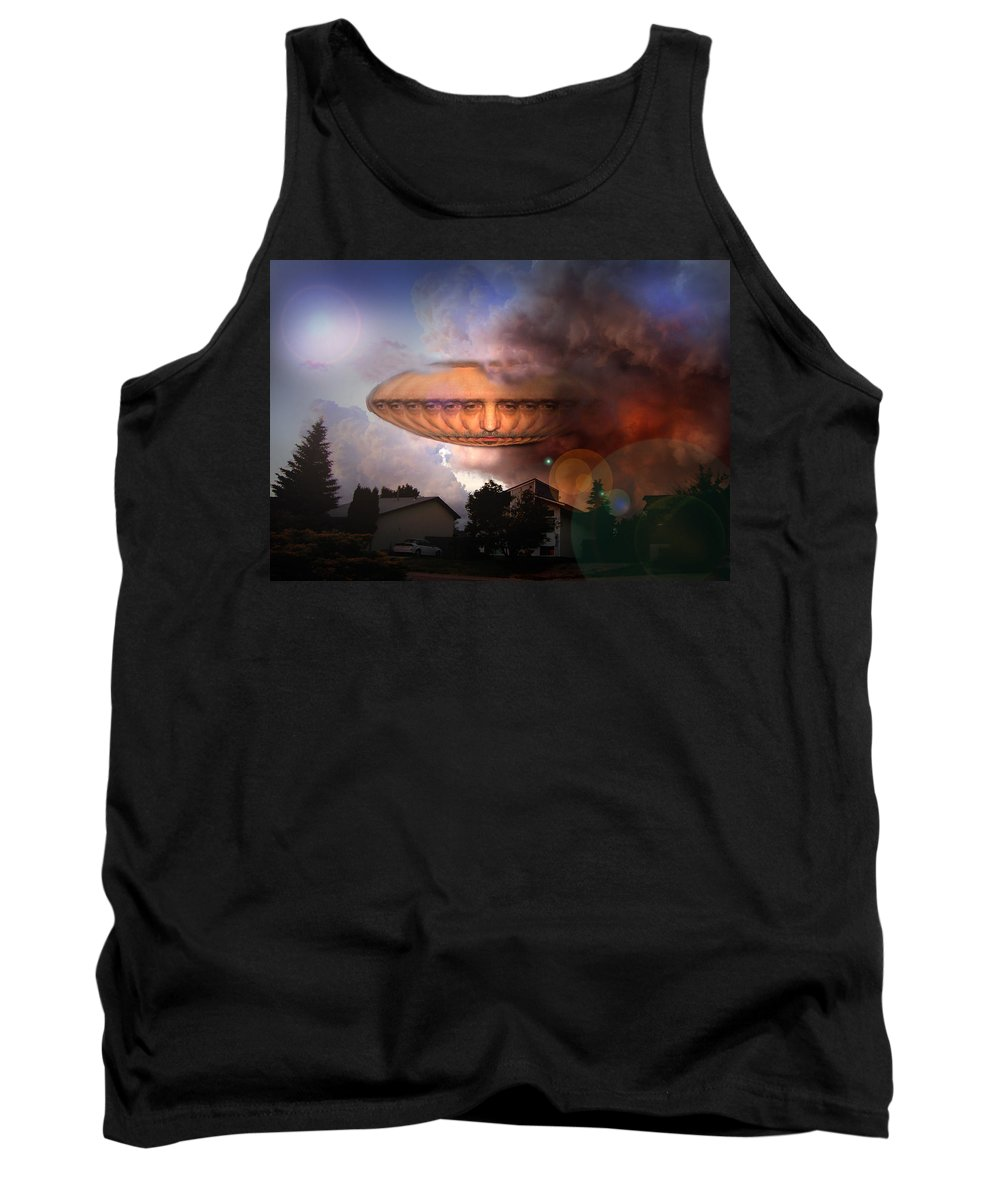 Surrealism Tank Top featuring the digital art Mystic Ufo by Otto Rapp
