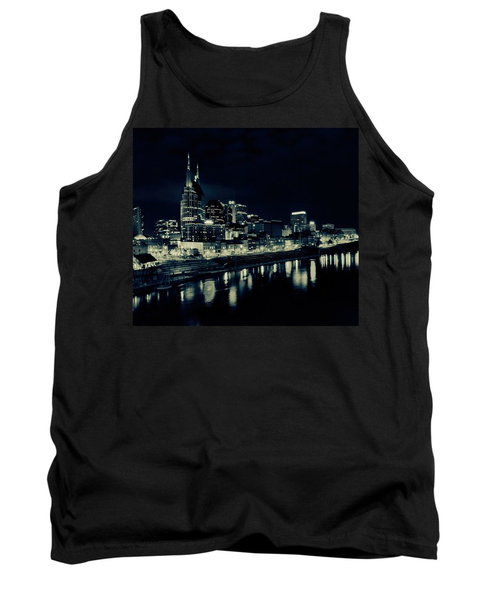Nashville Skyline Reflected At Night Tank Top featuring the photograph Nashville Skyline Reflected At Night by Dan Sproul